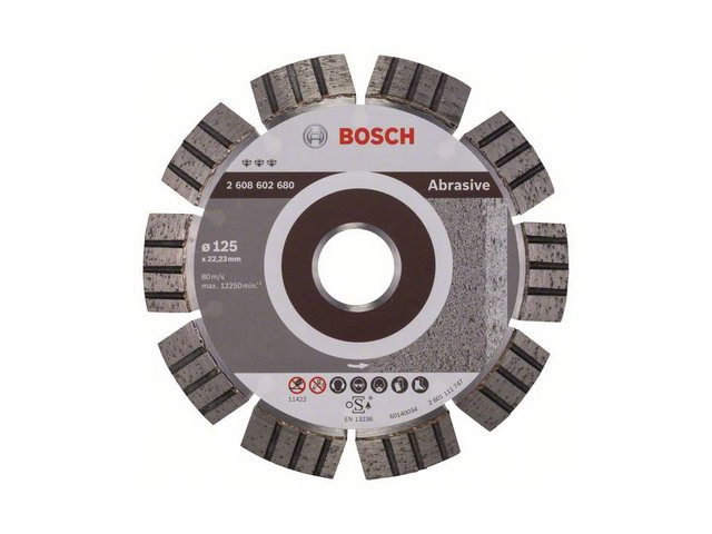 BOSCH Алмазный круг 125х22 мм по абразив. матер. сегмент. Turbo BEST FOR ABRASIVE  (сухая резка) BOSCH 2608602680